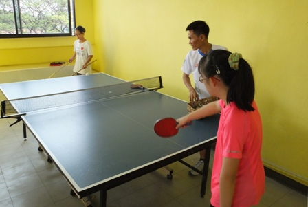 Student with disability playing table tennis