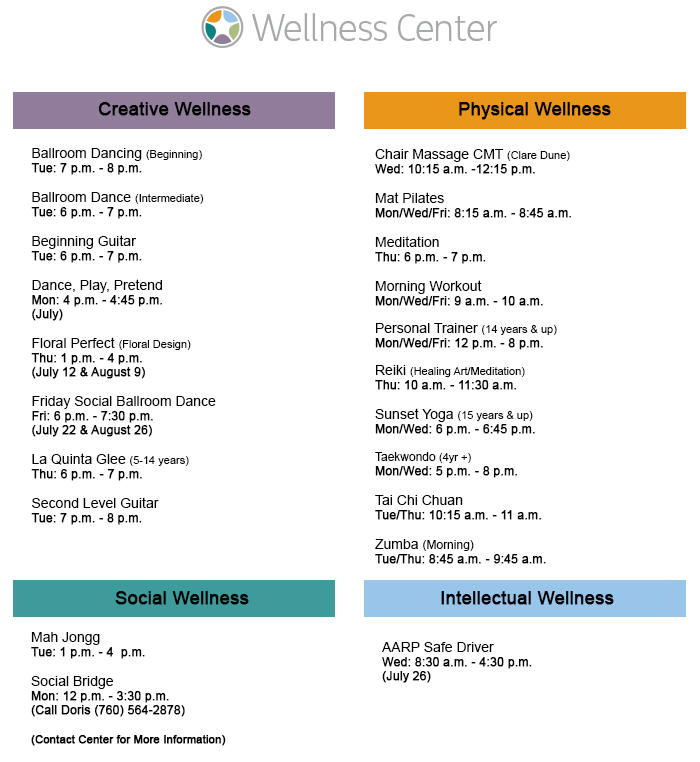 Wellness Center Schedule
