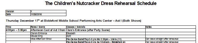 Dress Rehearsal Schedule
