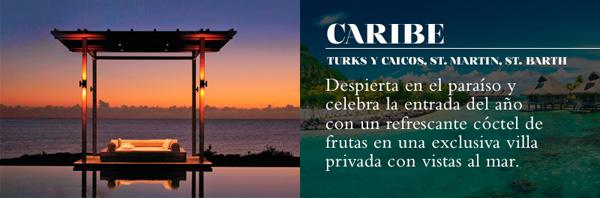 Viaje de fin de año con NUBA. Caribe, Despierta en el paraíso y celebra la entrada del año con un refrescante cóctel de frutas en una exclusiva villa privada con vistas al mar.