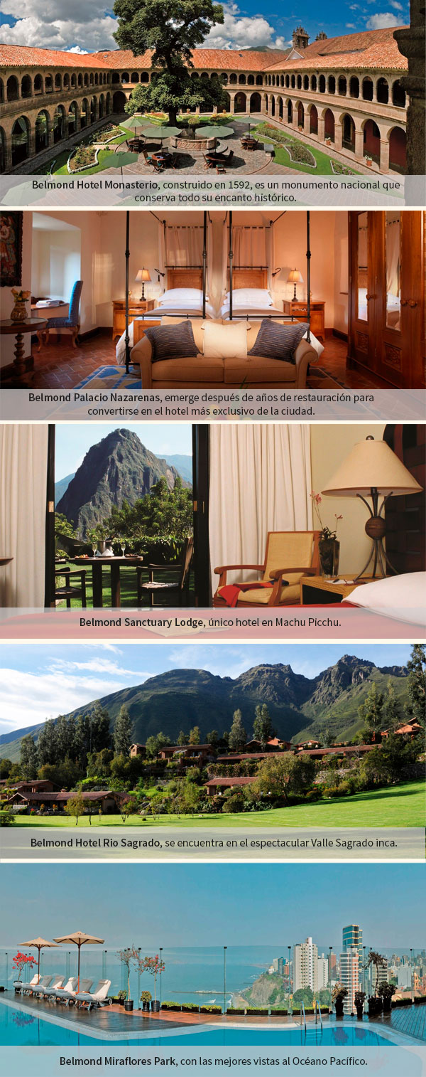 Belmond Hotel Monasterio, Belmond Palacio Nazarenas, Belmond Sanctuary Lodge, Belmond Hotel Rio Sagrado, Belmond Miraflores Park con NUBA