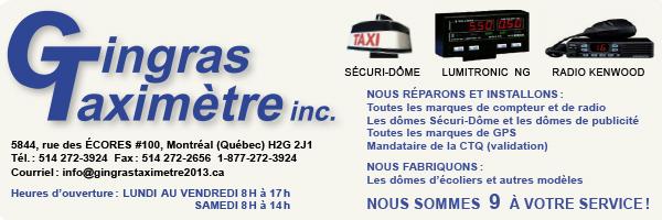 Gingras Taximètre inc. Réparation et installations. Rabais pour les membres du RTAM-Métallos. 1-877-272-3924