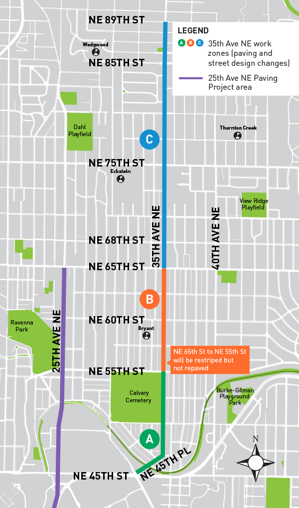 We've divided the project area into 3 work zones. Zone A is from northeast 45th street to northeast 55th street. Zone B is from northeast 55th street to northeast 65th street. Zone C is from northeast 65th street to northeast 89th street.
