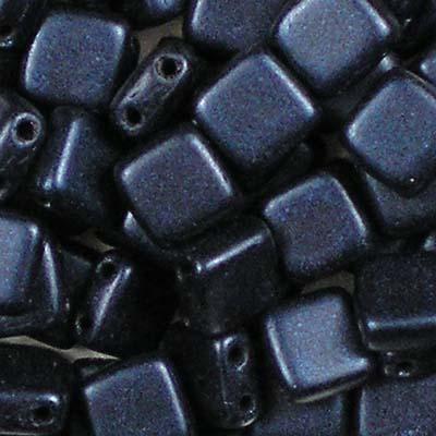 Beadstampede CzechMate Tile Metallic Suede Navy