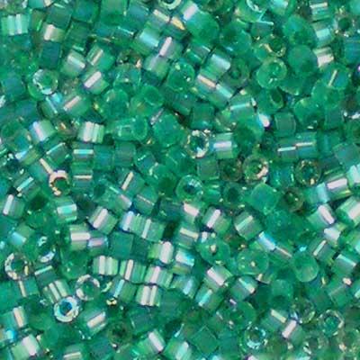 Beadstampede Miyuki 11/0 Delica 1870 Silk Inside Dyed Emerald AB