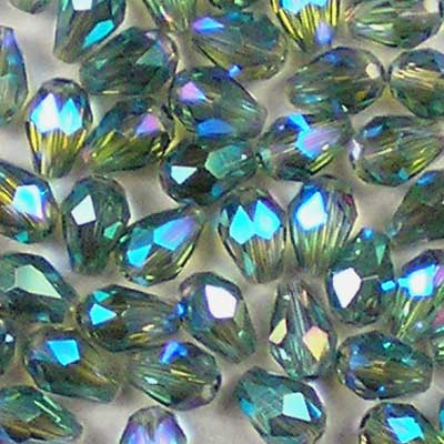 Beadstampede 5x3mm Glass Teardrop Olive Aqua AB