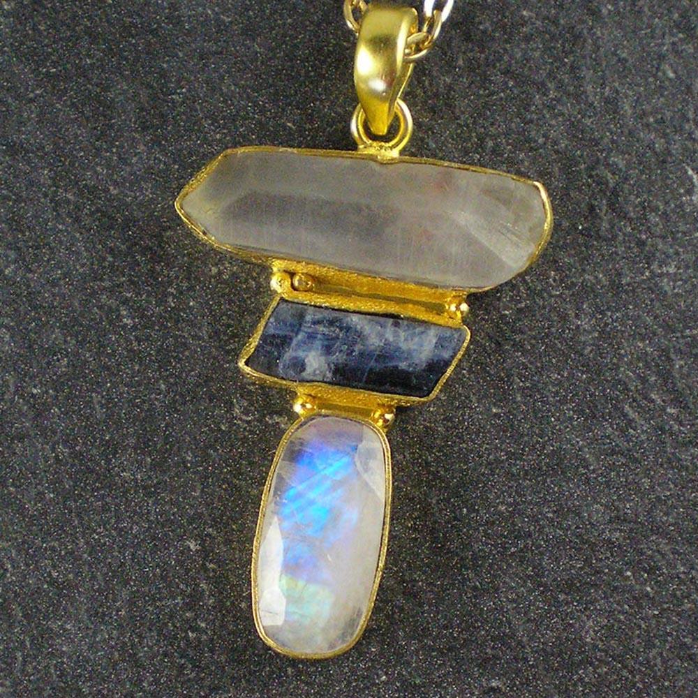 Bead Stampede Crystal Kyanite Moonstone Pendant