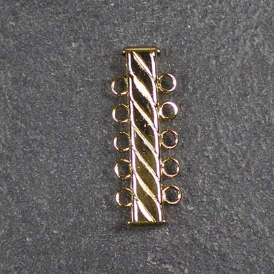 Bead Stampede 5-strand fluted gold tube slide clasp