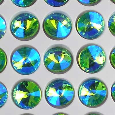 Bead Stampede Rivolis in Peridot Green/Sapphire AB 10mm