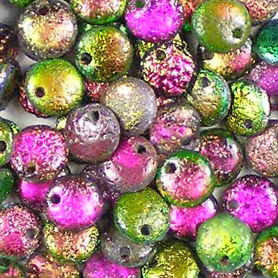 Beadstampede Czech 6mm Lentils Etched Magic Orchid