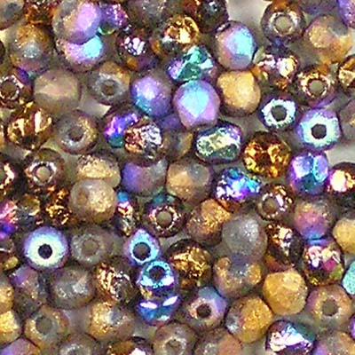 Beadstampede Etched Crystal Glittery Bronze 3mm Czech Fire-Polished Beads