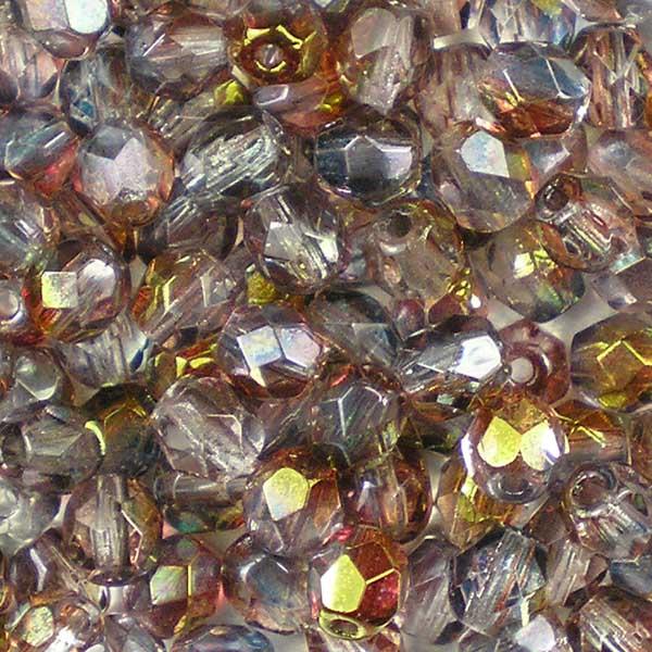 Beadstampede 4mm Czech Fire-Polished Beads Amethyst Blue Crystal Lustre
