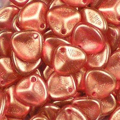 Beadstampede Czech 8x7mm Rose Petals Halo Cardinal