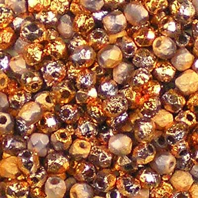 Beadstampede 3mm Czech Fire-Polished Beads Etched Crystal Sunset