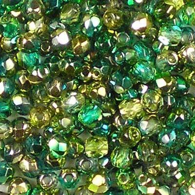 Beadstampede 3mm Czech Fire-Polished beads Golden Magic Emerald