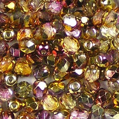 Beadstampede 4mm Czech Fire-Polished beads Golden Magic Amethyst