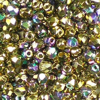 Bead Stampede Crystal Glittery Amber 3mm Czech Fire-Polished beads