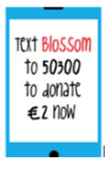Drawing of mobile phone. 'Text Blossom to 50300 to donate €2 now'