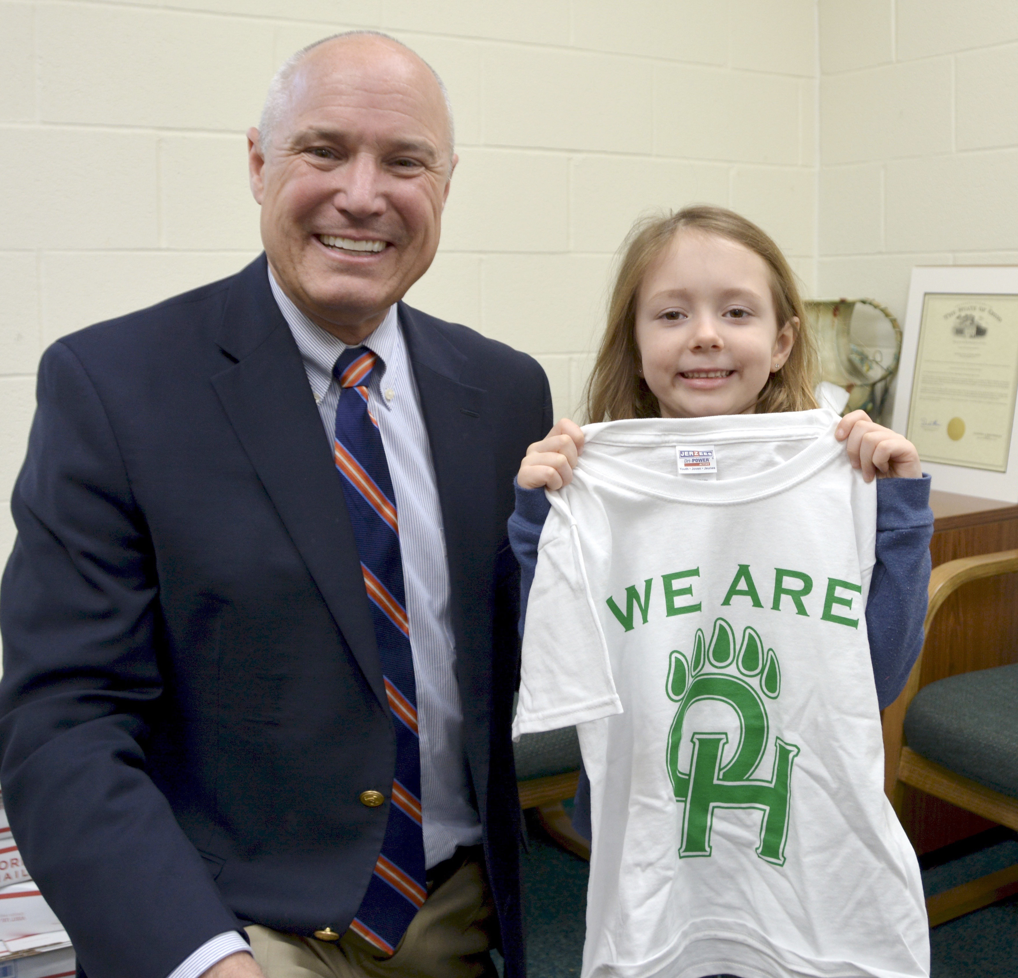 Dr. Miller with student T-shirt