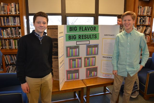 Students posing in front of science fair project