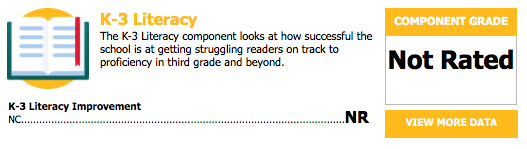 A graphic showing that K-3 Literacy was not rated for us