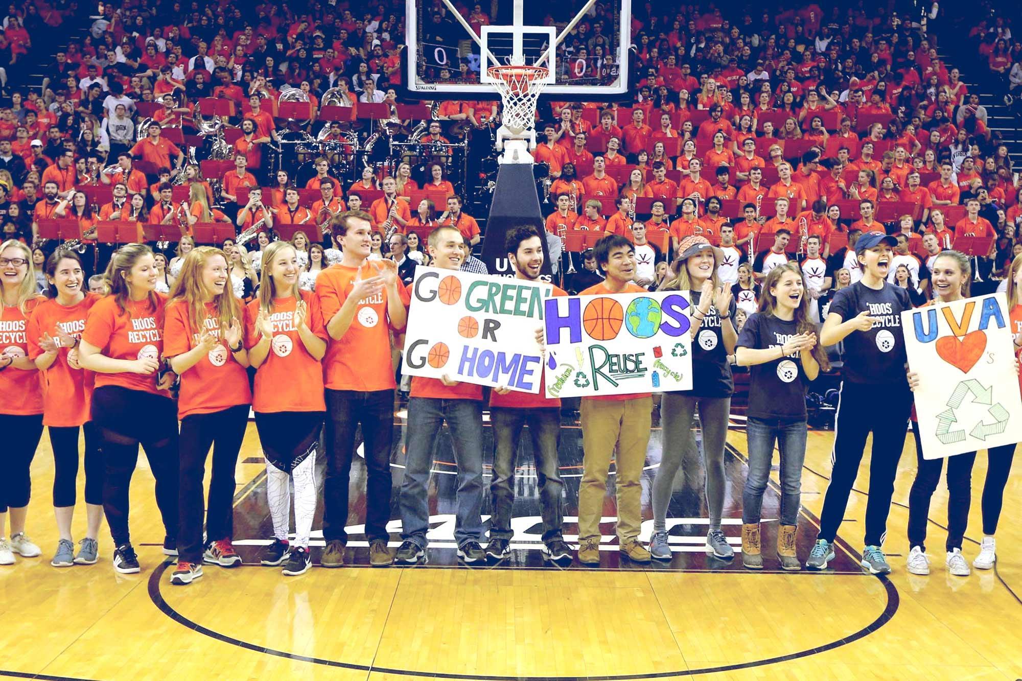 photo of students celebrating Zero Waste basketball game