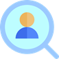 magnifying glass icon with person inside
