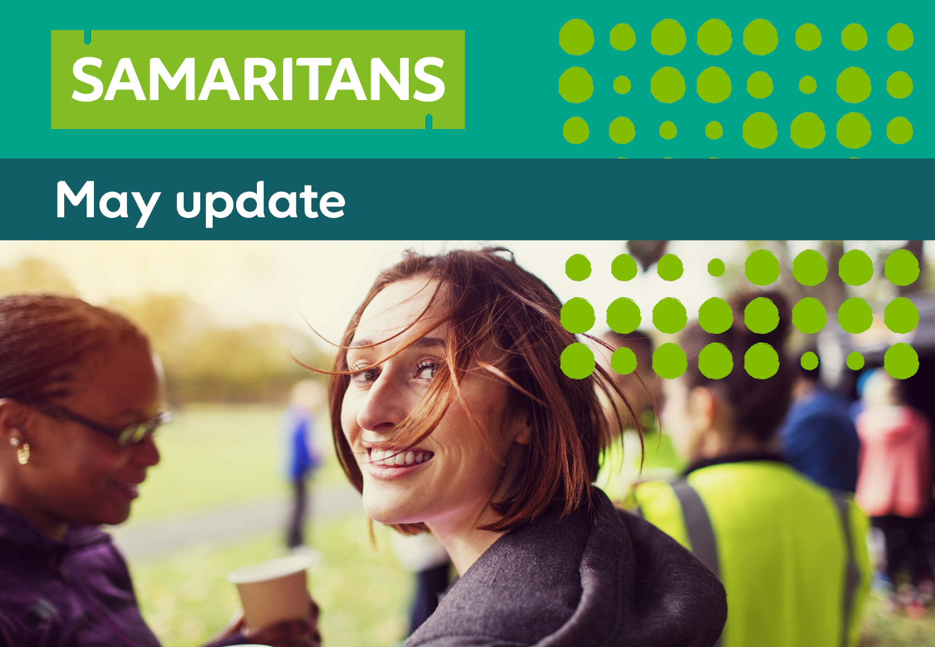 Samaritans monthly update banner - with picture of woman looking at camera