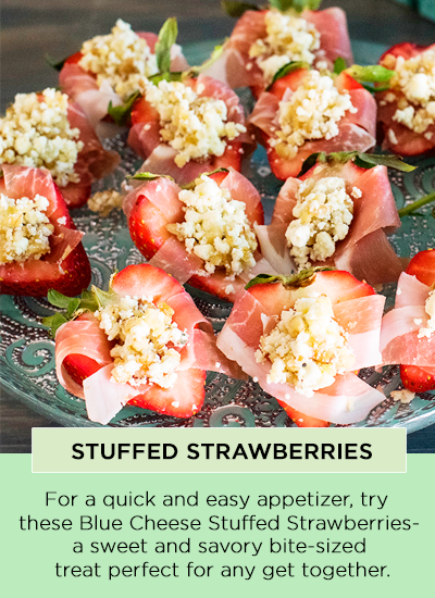 Stuffed Strawberries - For a quick and easy appetizer, try these Blue Cheese Stuffed Strawberries - a sweet and savory bite-sized treat perfect for any get together.