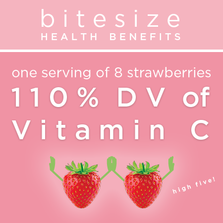 Bitesize Health Benefits - One serving of 8 strawberries = 110% DV of Vatamin C