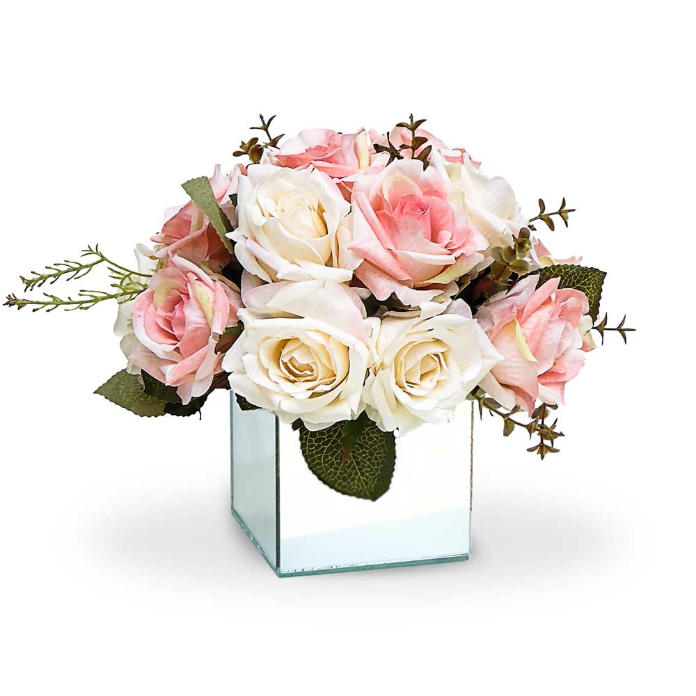 Arranjo de  Rosas Mistas Vaso Espelhado Pequeno