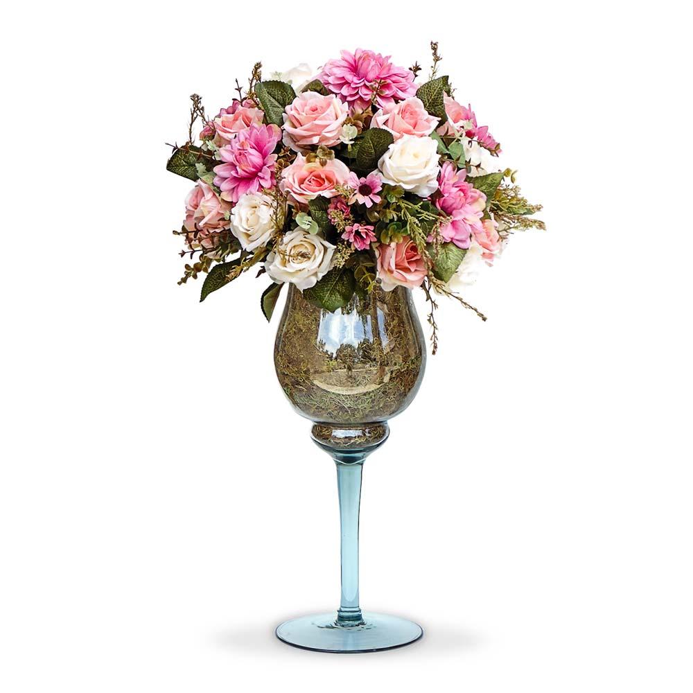 Arranjo de Flores Artificiais Mistas na Taça de Vidro