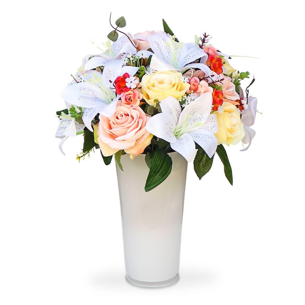 Arranjo de Flores Mistas no Vaso de Vidro Branco