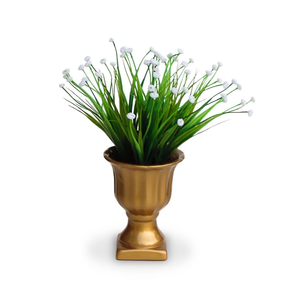 Arranjo de Flores Artificiais Mini Vaso Pedestal Dourado