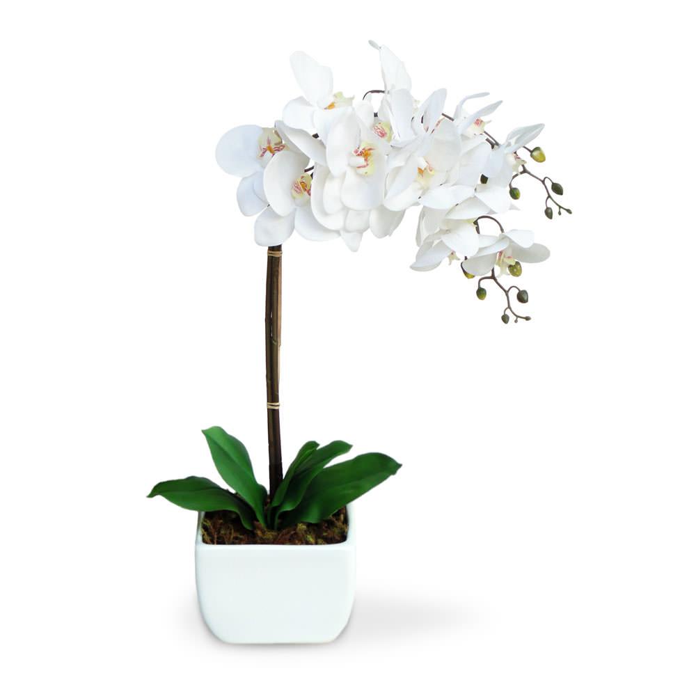 Arranjo de Flores Artificiais Orquideas no Cachepot Branco