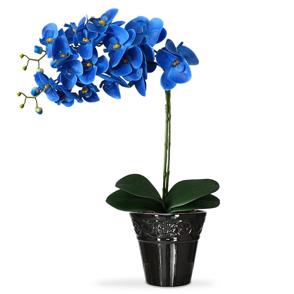 Arranjo de Flores Artificiais Orquideas Azuis no Vaso Preto