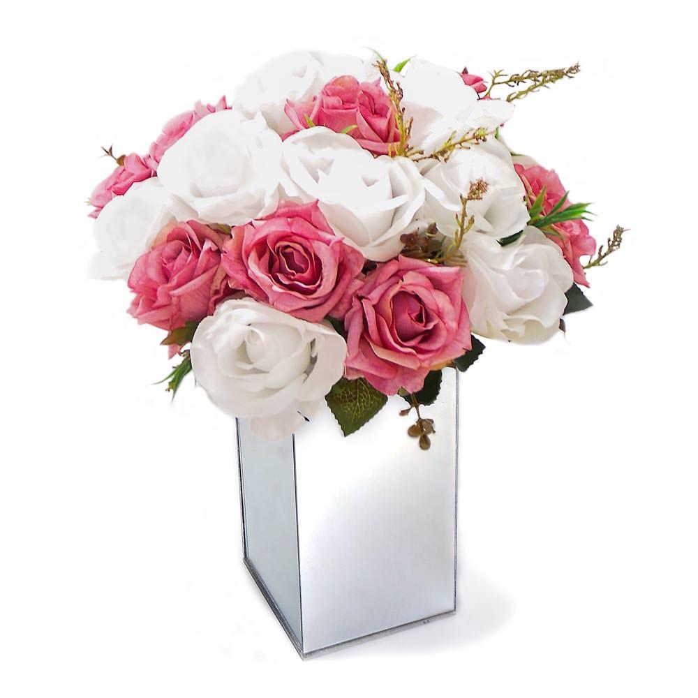 Arranjo de Flores Artificiais Rosas Mistas Vaso Vidro Espelhado