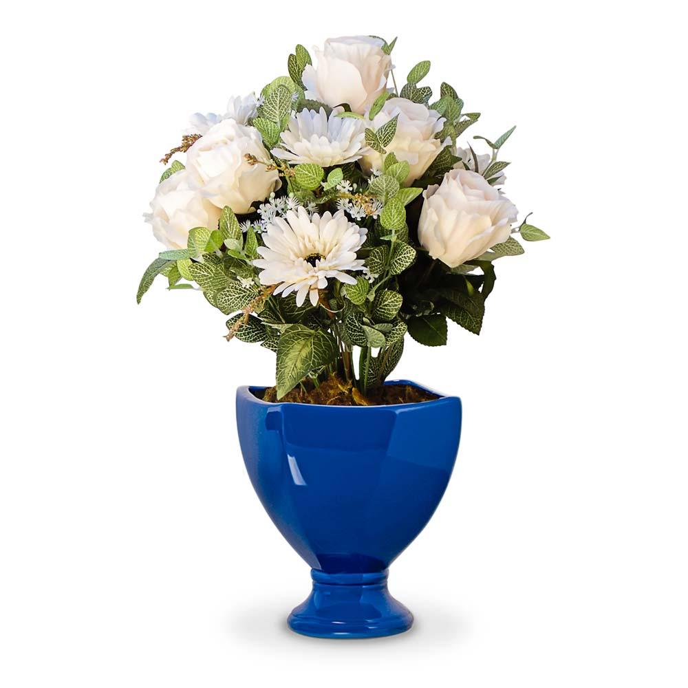 Arranjo de flores artificiais rosas e gerberas