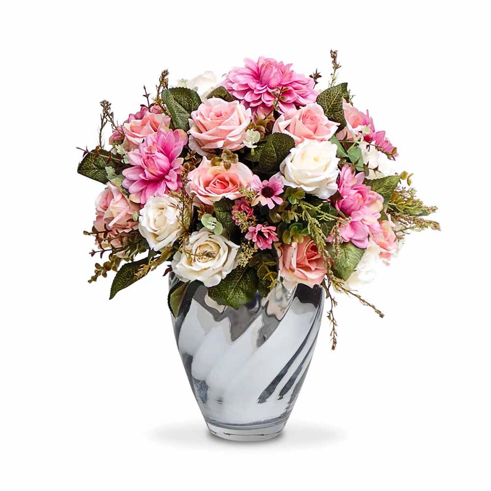 Arranjo Rosas Provencais no Vasos Espelhado