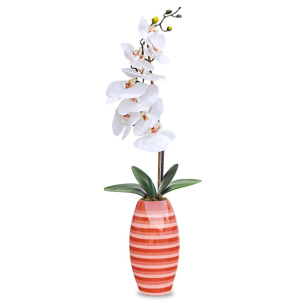 Arranjo Orquidea Vaso Listrado