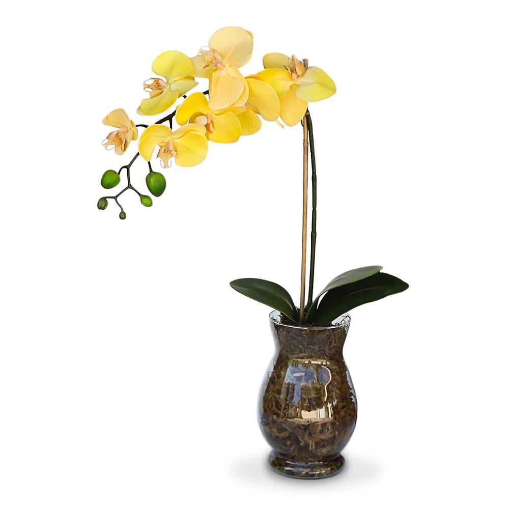 Arranjo de Flores Artificiais Orquidea Amarela