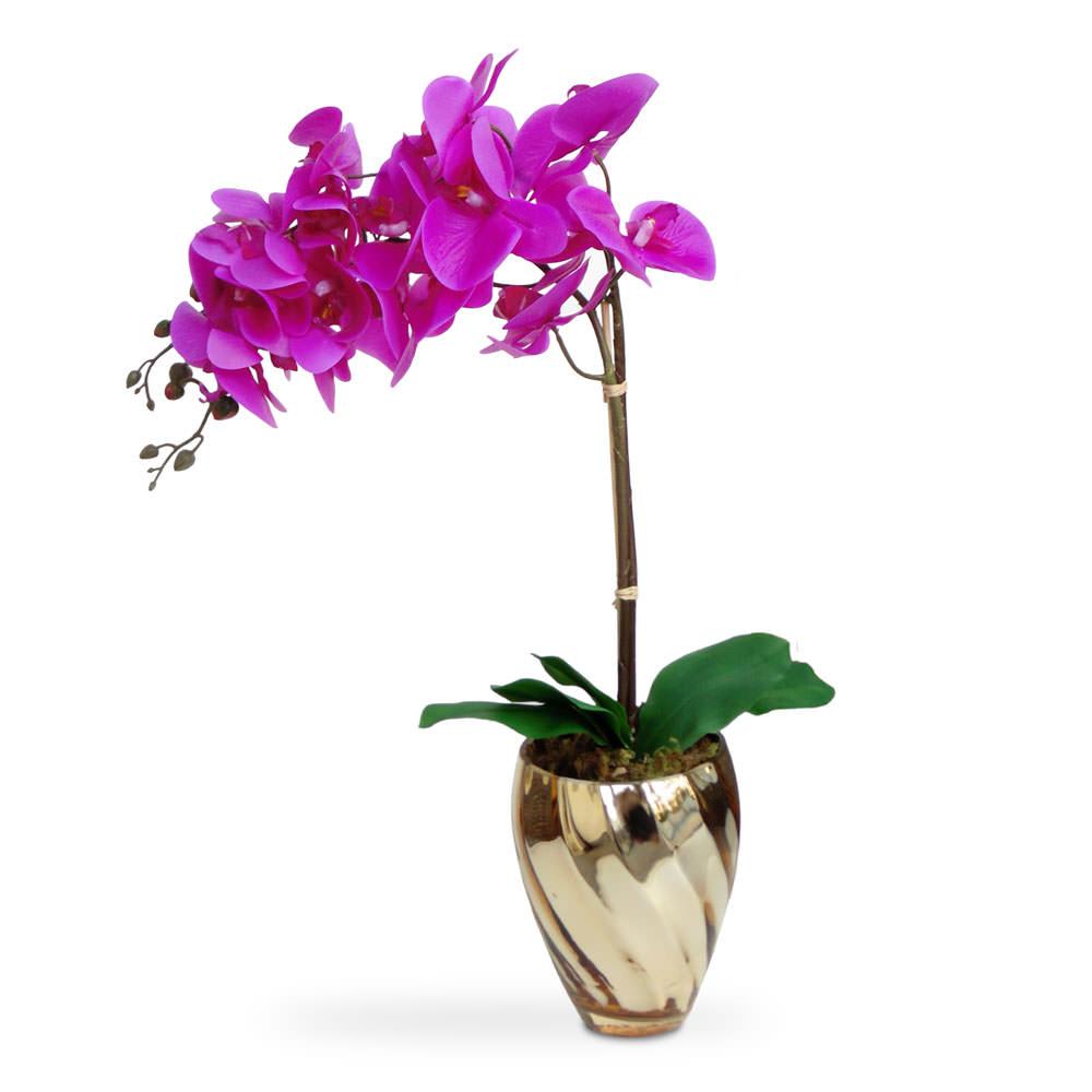 Arranjo de Flores Artificiais Orquideas Roxas Vaso Espelhado Dourado