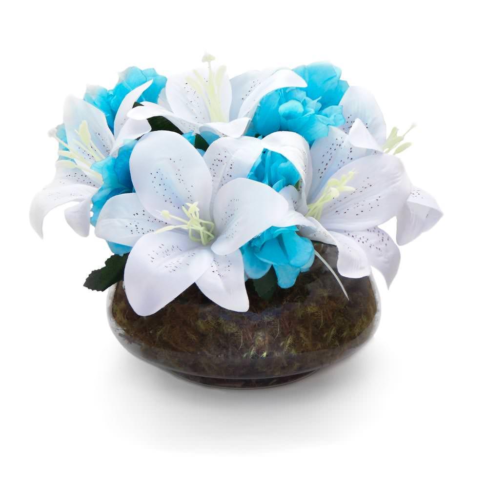 Arranjo de Flores Artificiais Lirio e Azaléia