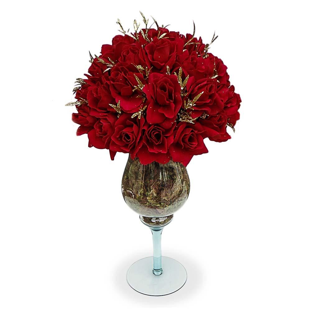 Arranjo Rosas Vermelho na Taca de Vidro