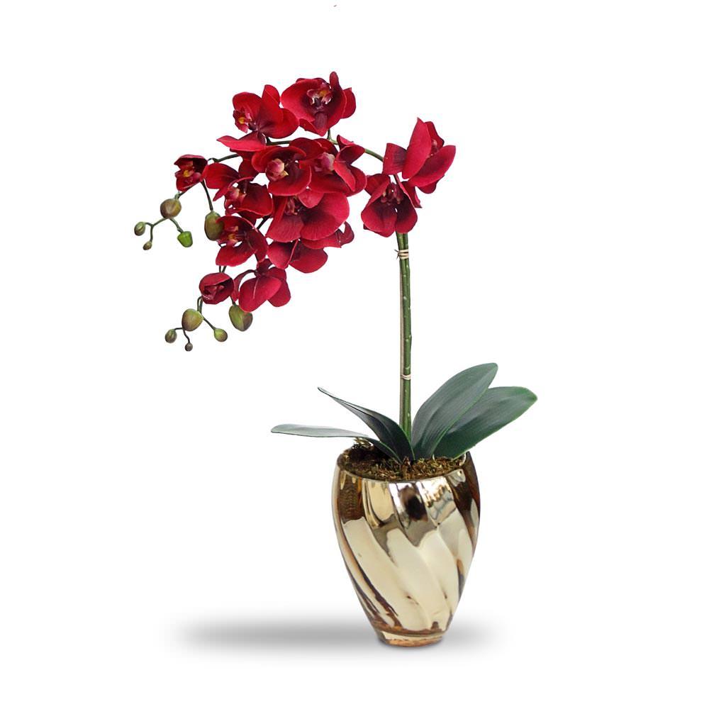 Arranjo Orquideas Vermelhas no Vaso Espelhado Dourado
