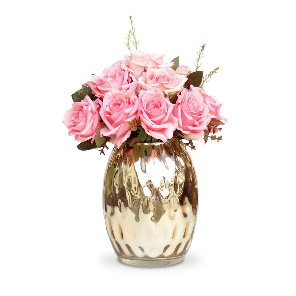 Arranjo de Flores Artificiais Rosas Vaso Espelhado Dourado