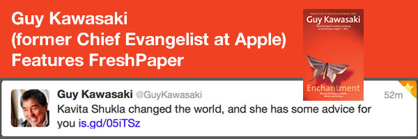 [PHOTO] FreshPaper Featured by Guy Kawasaki