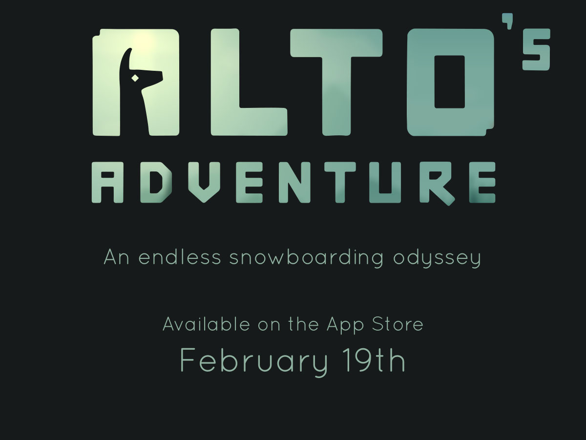 Alto's Adventure, an endless snowboarding odyssey. Available on the App Store, February 19th
