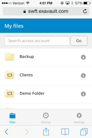 "ExaVault mobile app ""my files"" view"