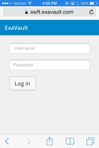 ExaVault mobile log in